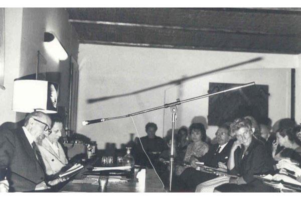 1965 - 5ª Semana Internacional de PsicossinteseGabriello Cirinei, Dr. Roberto Assagioli, Maria PanizzaParticipantes: Dorette Faillettaz, Maria Bonomo de Zago, Dr. Henri Baruk, Sra. Lunelli
